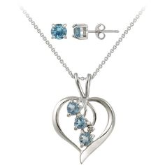 Icz Stonez Sterling Silver Blue CZ and Diamond Accent Jewelry Set ($26) ❤ liked on Polyvore featuring jewelry, silver, sterling silver jewelry, butterfly jewelry, butterfly pendant, sterling silver heart jewelry and sterling silver butterfly pendant