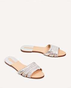 SILVER-TONED FABRIC SLIDES-Flat sandals-SHOES-WOMAN | ZARA United States