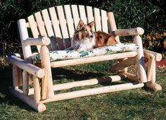 Designed to comfortably seat two or three people, the Rustic Natural Cedar Furniture Old Country 4 ft. Log Style Outdoor Glider Loveseat will be. Cedar Furniture, Rustic Outdoor Furniture, Rustic Patio, Porch Glider, Outdoor Glider, Rustic Gardens, Outdoor Gardens, Glider Rocking Chair, Northern White Cedar