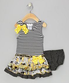 Take a look at this Black Stripe Dress & Polka Dot Diaper Cover - Infant by Gerson & Gerson on #zulily today!