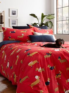 Cozy dachshunds duvet cover set - Duvet Covers - Red