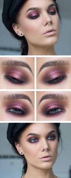 Pearly pink and purple smokey eye