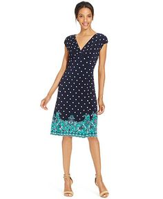 Style&co. Printed Cap-Sleeve A-Line Dress - Dresses - Women - Macy's