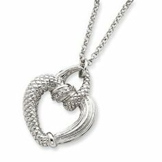 Sterling Silver CZ Open Heart Necklace - 16 Inch - Spring Ring - JewelryWeb JewelryWeb. $60.80. Save 50% Off!