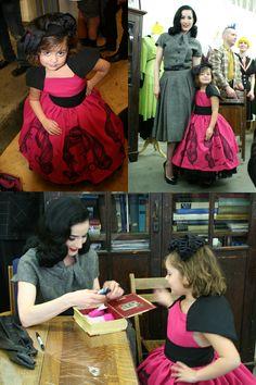 Fashion/music blogger & my niece, Paris meeting her 40's 50's fashion icon!  Dress by EB1955  Dita's dress by Dior circa 1955  -hot pink , dita von teese , fashion , dolce & gabbana , custom , chic , glamour