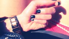 Via Bloom in Saturation. Black and Gold nails.