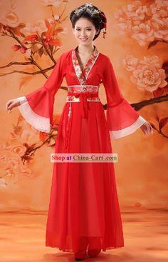 Chinese Clical Red Wedding Dress For Women Hanfu Cheongsam Oriental Clothing