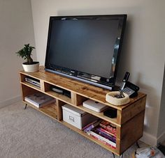TV Console Reclaimed Pallet Wood, Media Stand, Entertainment Centre, Storage, Condo Sized Furniture, Upcycled Wood, Recycled, Cabinet, Shelf by Sonofawoodcutter on Etsy https://www.etsy.com/listing/229461748/tv-console-reclaimed-pallet-wood-media