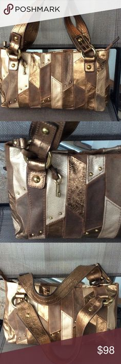 Fossil vintage metallic leather bag Vary good condition for it's age Fossil Bags Satchels