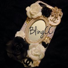 Pearl and Black #Chanel inspired #Bling #Kawaii #Decoden #iphonecase custom made by #blingculturecustoms $42 visit us on Etsy shop #BlingCC