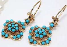 """Antique C. 1890 Victorian 14k Yellow Gold Blue Persian Turquoise 1.25"""" Earrings!"""