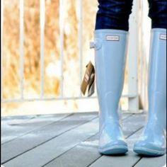 Porcelain Blue Women's Hunter Rain Boots Porcelain Blue- looks like light grey. I've only worn them a couple of times. Bought this last summer. Hunter Boots Shoes Winter & Rain Boots