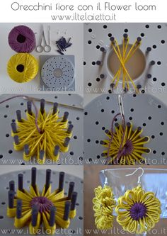 Tutorial orecchini fiore in cotone con il lower loom - Tutorial: Flower shaped cotton earrings with Flower loom Loom Flowers, Knitted Flowers, Burlap Flowers, Fabric Flowers, Loom Knitting Stitches, Loom Knitting Projects, Yarn Projects, Hand Embroidery Designs, Ribbon Embroidery