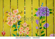 Whimsical painted fence