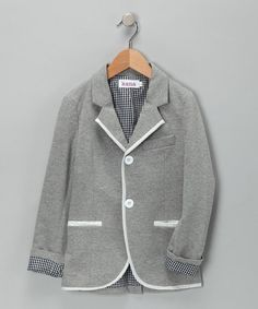 Gray & White Cotton Blazer - Toddler & Boys by Kana on #zulily today!