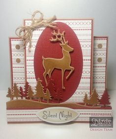 Die'sire Classique Christmas Die's Elegant Reindeer Scenic Pines Cameo Stamping Frame Christmas Sentimentals Kraft Card Cordination Card