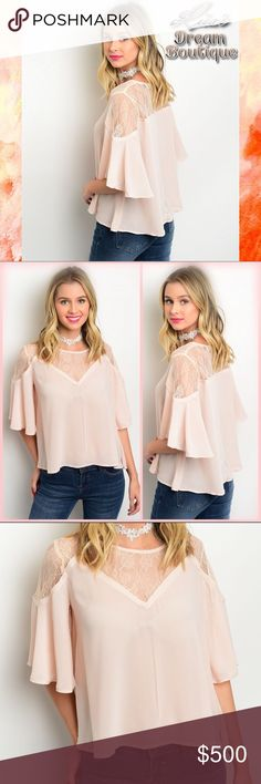 ✨New Arrival!✨Pale Peach with Lace and Flutter✨ 🆕Incredible Pale Peach lightweight woven top featuring a Lace yoke, a relaxed flowy fit and lovely flutter sleeves💗Beautiful and very feminine!🌸Made by Wet Seal🌸100% Poly🌸🔹PRICE WILL BE FIRM UNLESS BUNDLED🔹NO TRADES🔹💟25% OFF BUNDLES {Limited Time}💟 LDB Tops Blouses