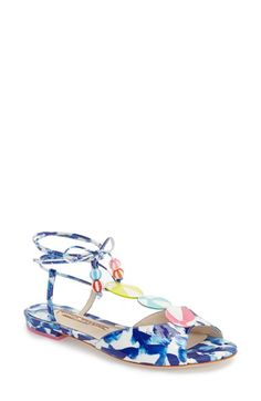 2016.  SOPHIA WEBSTER 'Oceana Beachball' Sandal.  Colorful beach balls define the T-bar of a playful, beach-ready lace-up sandal in eye-catching ocean-themed colors. Lace-up closure.  Textile and leather upper/leather lining and sole. Made in Brazil.