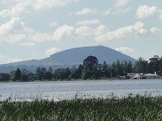 Mount Warrenheip, an inactive volcano, looking east from Lake Wendouree, Ballarat, Victoria, Australia