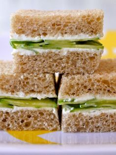 Simple and refreshing.people don't eat enough cucumber finger sandwiches these days.makes me want to have a tea party Cream Cheese Sandwiches, Finger Sandwiches, Healthy Sandwiches, Tea Sandwiches, Sandwich Recipes, Cucumber Sandwiches, Gourmet Recipes, Cooking Recipes, Healthy Recipes