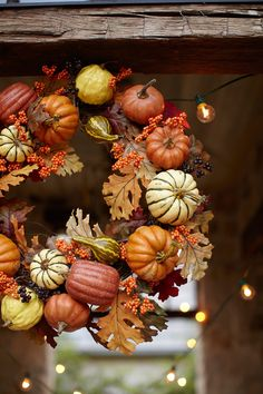 autumn wreath w/ pumpkins