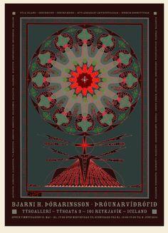 SPARK Design Space - New poster by Goddur for Bjarni H. Þórarinsson exhibition of Vísirósir or Roses of Wisdom in Týsgallerí in 2015. Limited edition of 25. Size 130 x 94 cm.