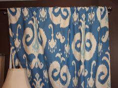 2 IKAT CURTAIN PANELS-Home Accents Himalaya Ikat Porcelain Blue 50 x 84