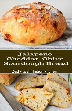 [ Jalapeño Cheddar Chive Sourdough Bread - Zesty South Indian Kitchen For many people home bakers, m Jalapeno Bread, Jalapeno Cheddar, Sourdough Bread Starter, Sourdough Recipes, Artisan Sourdough Bread Recipe, Sourdough Dinner Rolls, Artisan Bread Recipes, Monkey Bread, Kitchen Recipes