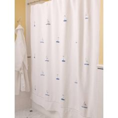 Embroidered Cotton Shower Curtain #nautical #embroideredlinens #beachtheme #blueandwhitedesign #lighthouses