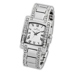 Ladies' Anne Klein Crystal Accent Silver-Tone Rectangular Watch (Model: 10-7127SVSV) - Anne Klein - Zales