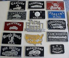 lot of 15 vintage car club plaques/lifetime collection dating from the 1950's
