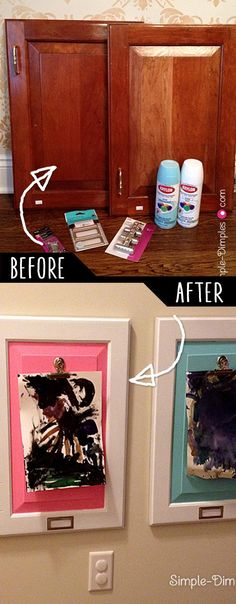 DIY Furniture Hacks |  Artwork Display for Children using Cabinet Doors  | Cool Ideas for Creative Do It Yourself Furniture Made From Things You Might Not Expect - http://diyjoy.com/diy-furniture-hacks