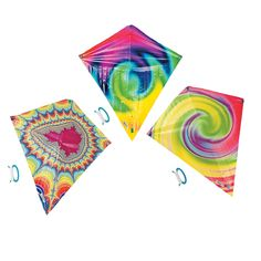 $12.00 for a dozen. I want to hang these in the kid's playhouse Tie-Dyed Kites - OrientalTrading.com