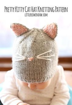 The Pretty Kitty Baby Hat will make you squeal with delight, because the cuteness is almost too much to handle. This free baby knitting pattern uses gray and pink yarn to create an adorable topper for your little one.
