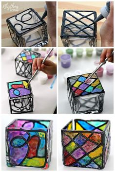 Diy faux stained glass candle holders rhythms of play домашние рукоделия, k Jar Crafts, Bottle Crafts, Crafts For Kids, Stained Glass Paint, Stained Glass Projects, Diy Candle Holders, Diy Candles, Glass Holders, Beeswax Candles