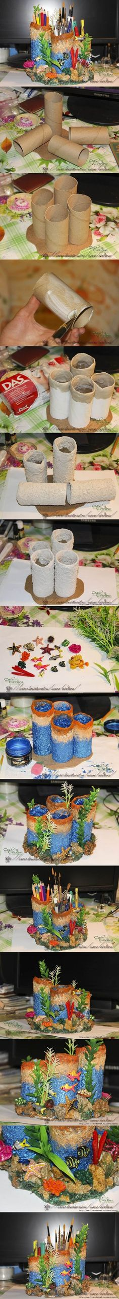 DIY Coral Reef Pencil Holder from Toilet Paper Rolls | iCreativeIdeas.com Follow Us on Facebook --> www.facebook.com/...