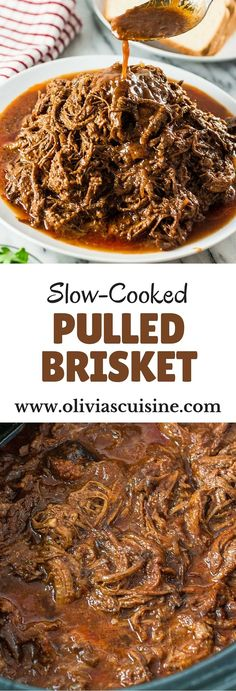 Slow-Cooked Pulled Brisket | http://www.oliviascuisine.com | Make this delicious pulled brisket in your crockpot and enjoy it in sandwiches, wraps or even in baked potatoes!