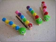 Craft - Caterpillar Clothespins - Happy Home Fairy Art For Kids, Crafts For Kids, Arts And Crafts, Children Crafts, Hungry Caterpillar Craft, Happy Home Fairy, Insect Crafts, Girl Scout Swap, Girl Scouts