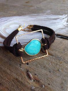 Gold turquoise bracelet leather boho by FeatherTalesDesigns, $40.00