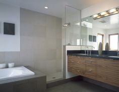John- like the types of materials, just not in these exact colors. Love stone floor, and large scale tile on shower walls. Love the glass partition for shower, and floating vanity.   Do not like black counter and dark stain on vanity. LIghting not my choice either. conceptually though, it's a go.