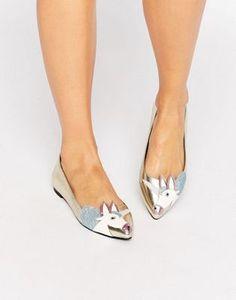 ASOS - LULAMOON - Ballerines plates motif licorne Chaussures Femme,  Sandales, Motif Licorne, f1037d1a0136