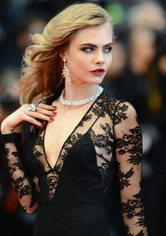 #black #long #dress #class #classy #elegant #red #carpet #cannes #diamond #diamonds #jewelry #jewellery #earring #earrings #ring #rings #necklace #necklaces #black #lace #laced #long #sleeve #sleeves #red #lipstick #nail #polish #nails #cara #delevingne #model #models #make #up #makeup #eyeshadow #eyebrow #eyebrows