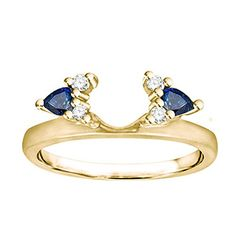 Diamond and Created Sapphire Ring Wrap Enhancer set in 14k Yellow Gold 052 ct twt -- You can find more details by visiting the image link.
