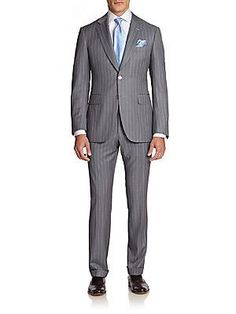 Canali Pinstriped Wool Suit - Grey - Size