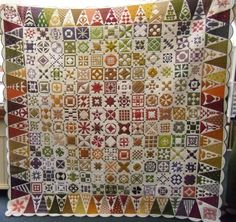 Calling all lovers of Dear Jane... a good picture of the Dear Jane by Sonia, posted by Karen Styles at Somerset Patchwork.  Red, orange, yellow, and yellow-green