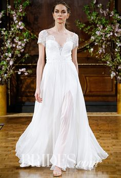 """Brides.com: . """"Kaitlyn"""" beaded lace T-shirt bodice with chiffon circle skirt, Isabelle Armstrong"""