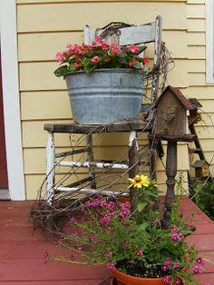 54 Gorgeous Rustic Farmhouse Porch Design Ideas - Decorating tips - Garden Chair Porch Garden, Garden Art, Garden Ideas, Cottage Porch, Backyard Ideas, Garden Types, Garden Design, Garden Chairs, Pergola Ideas