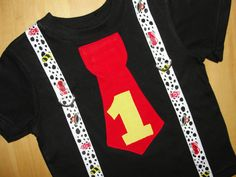 Fireman Birthday Theme Tie T Shirt and Suspenders Boys or Toddler T Shirt Dalmation Print Firetruck Birthday Shirt. $22.95, via Etsy.