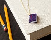 Items similar to Book Necklace - Purple Pendant - Eco Felt - Stitched Jewelry - Vegan on Etsy