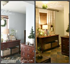 DIY Show Off ~ No sew drop cloth {script} curtain tutorial.DIY Show Off ™ – DIY Decorating and Home Improvement Blog